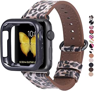 JSGJMY Compatible Apple Watch Band 38mm 40mm with Case,Women Genuine Leather Strap with Space Grey Adapter and Buckle for iwatch Series 5/4/3/2/1, Leopard