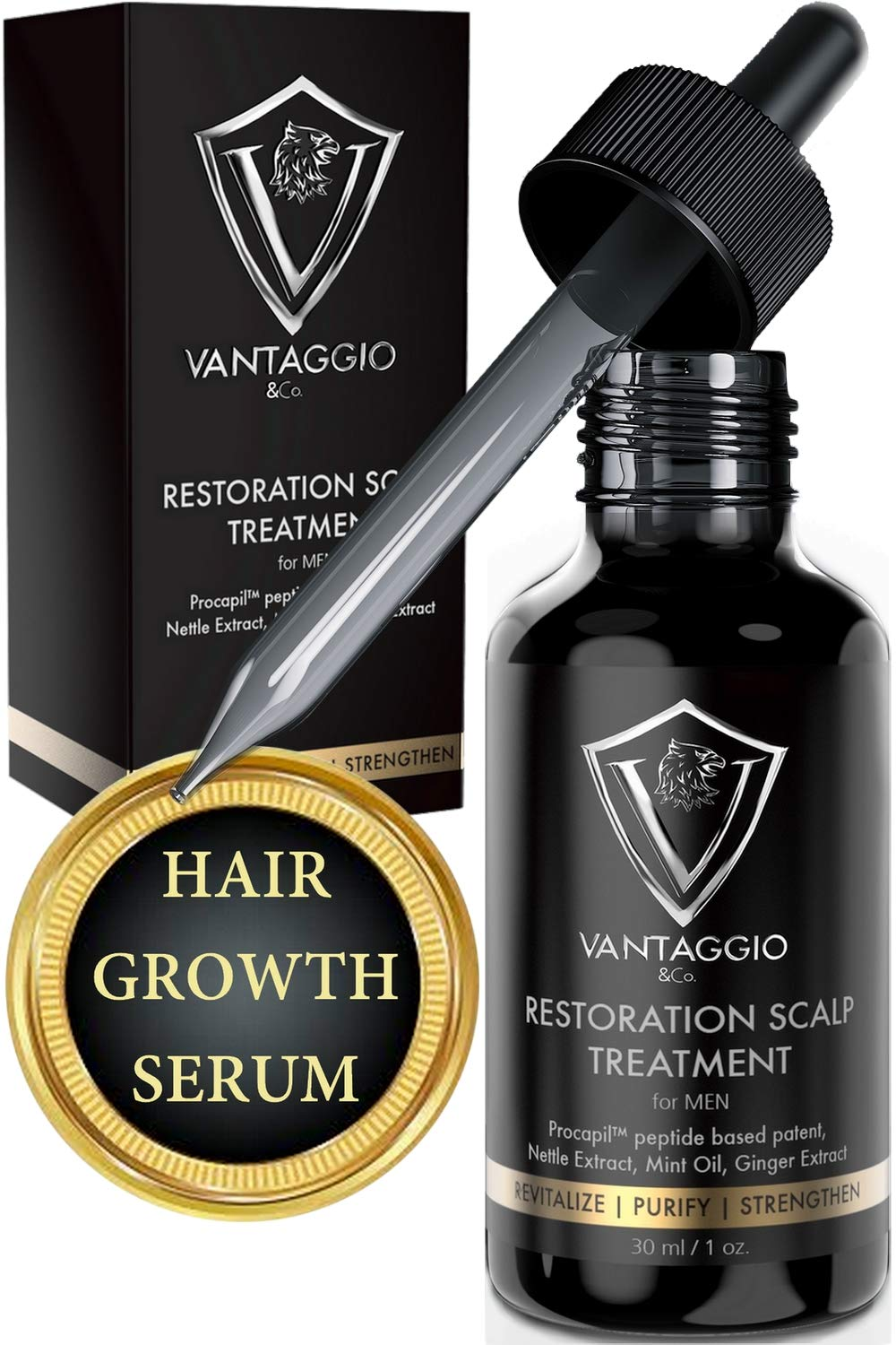 VANTAGGIO & Co. Restoration Scalp Treatment contains Aloe Vera, Nettle, Ginger, Rosemary, Ginseng and Peppermint - 1oz by VANTAGGIO & Co.