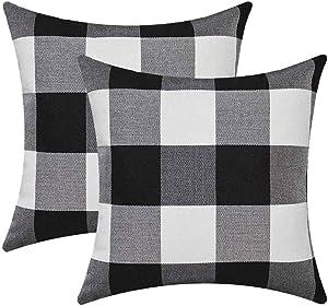 Buffalo Check Plaid Throw Pillow Covers Farmhouse Decorative Square Pillow Cover Case Cushion Pillowcase 18x18 Inches for Home Decor Sofa Bedroom Car, Set of 2, Black