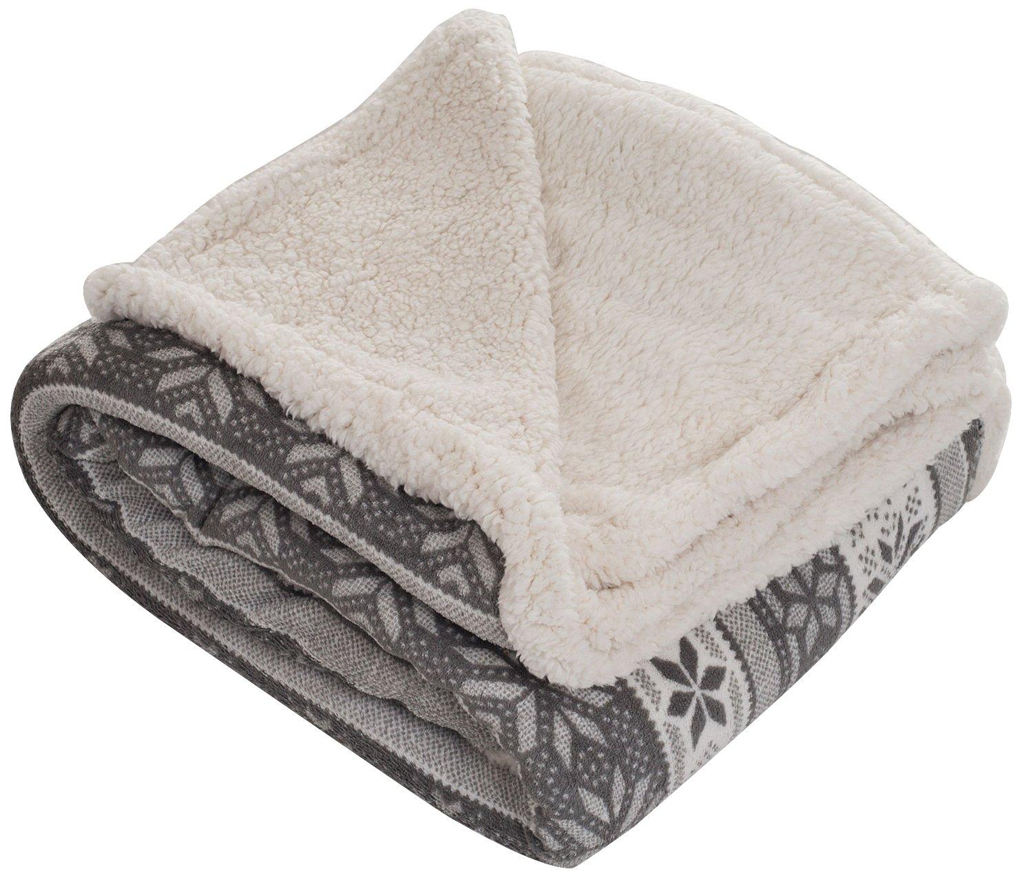 amazon com lavish home throw blanket fleece sherpa silver stars