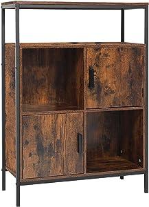 USIKEY Floor Storage Cabinet, Industrial Freestanding Cabinet with Open Shelves and Door, 36.03