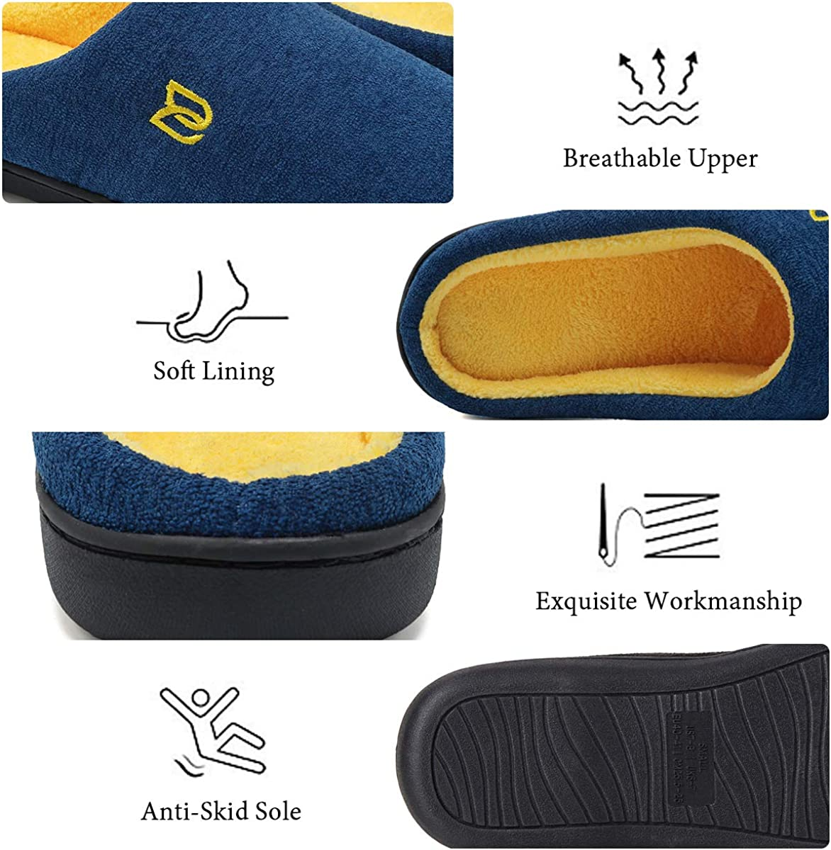Mens Slippers Memory Foam Classic Two-Tone House Slippers