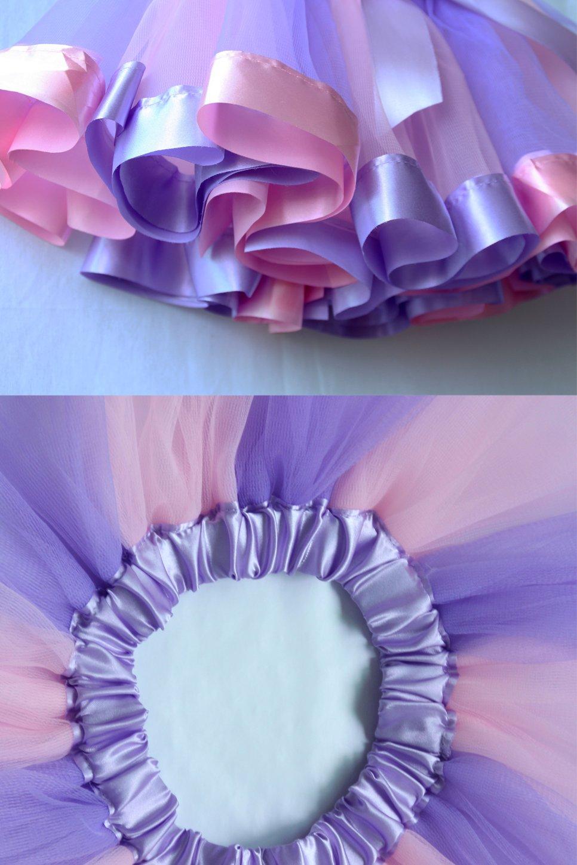 Bingoshine Layered Tulle Rainbow Tutu Skirt for Newborn Baby Girls Photography Outfit Sets Dress up with Colorful Headband (Purple Rainbow, S,0-24 Months) by Bingoshine (Image #4)