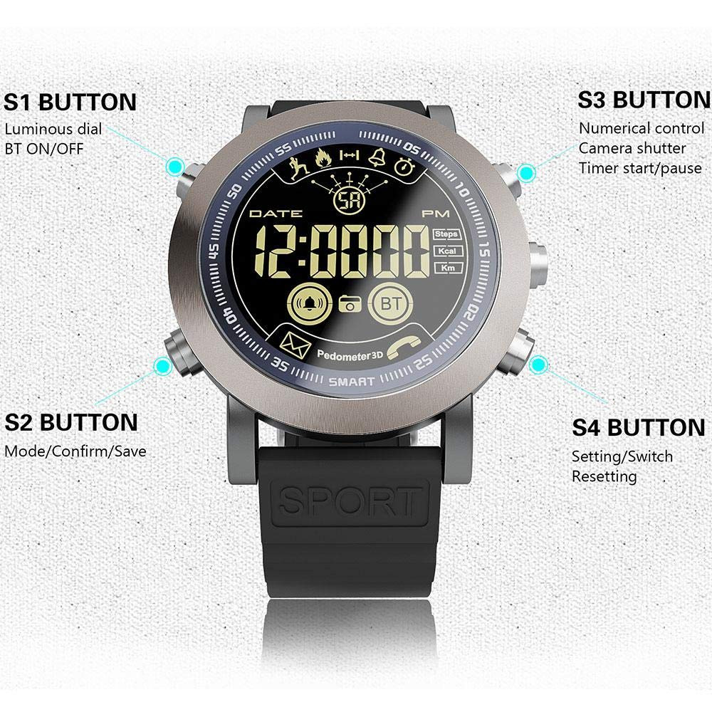Amazon.com: LEMFO LF23 Smart Watch[2018 Updated Version], IP68 Waterproof 610Mah Battery Fitness Tracker 33months Long Standby Time Call Remind SMS Alert ...