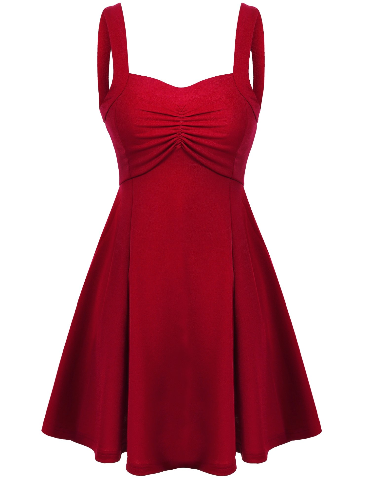 Beyove Women's Wide Strap Vintage 50s 60s Swing Style Cotton Dresses (Red/S)