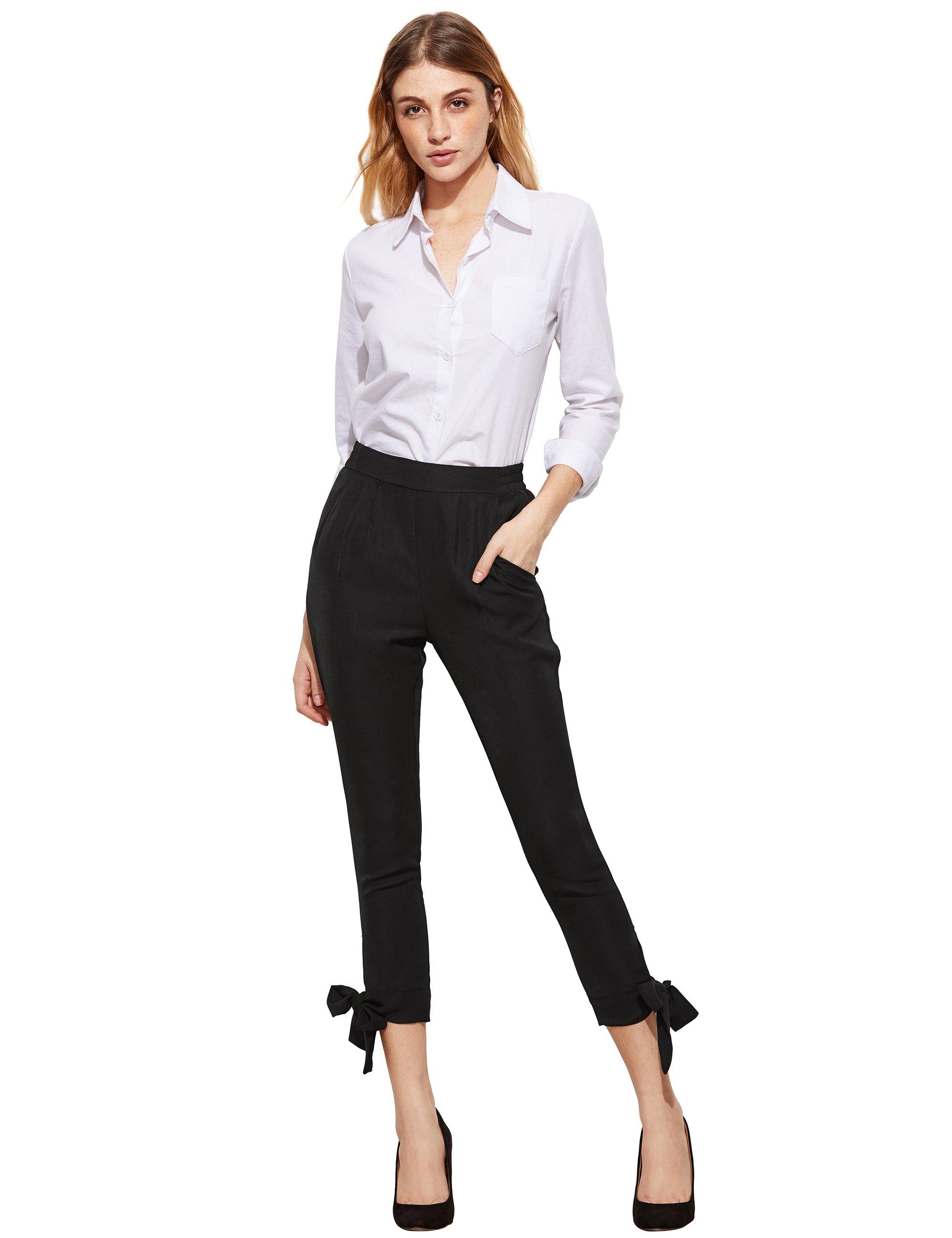 SheIn Women's Elastic Waist Comfy Bow Tie Hem Crop Skinny Pants with Pockets Small Black by SheIn (Image #2)