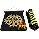 "BlingKingdom - 15"" Safety Dart Board Game Roll up Two Sided Reversible Bullseye Target Magnetic Dartboard With 6 Darts for Kids (45cm x 38cm)"