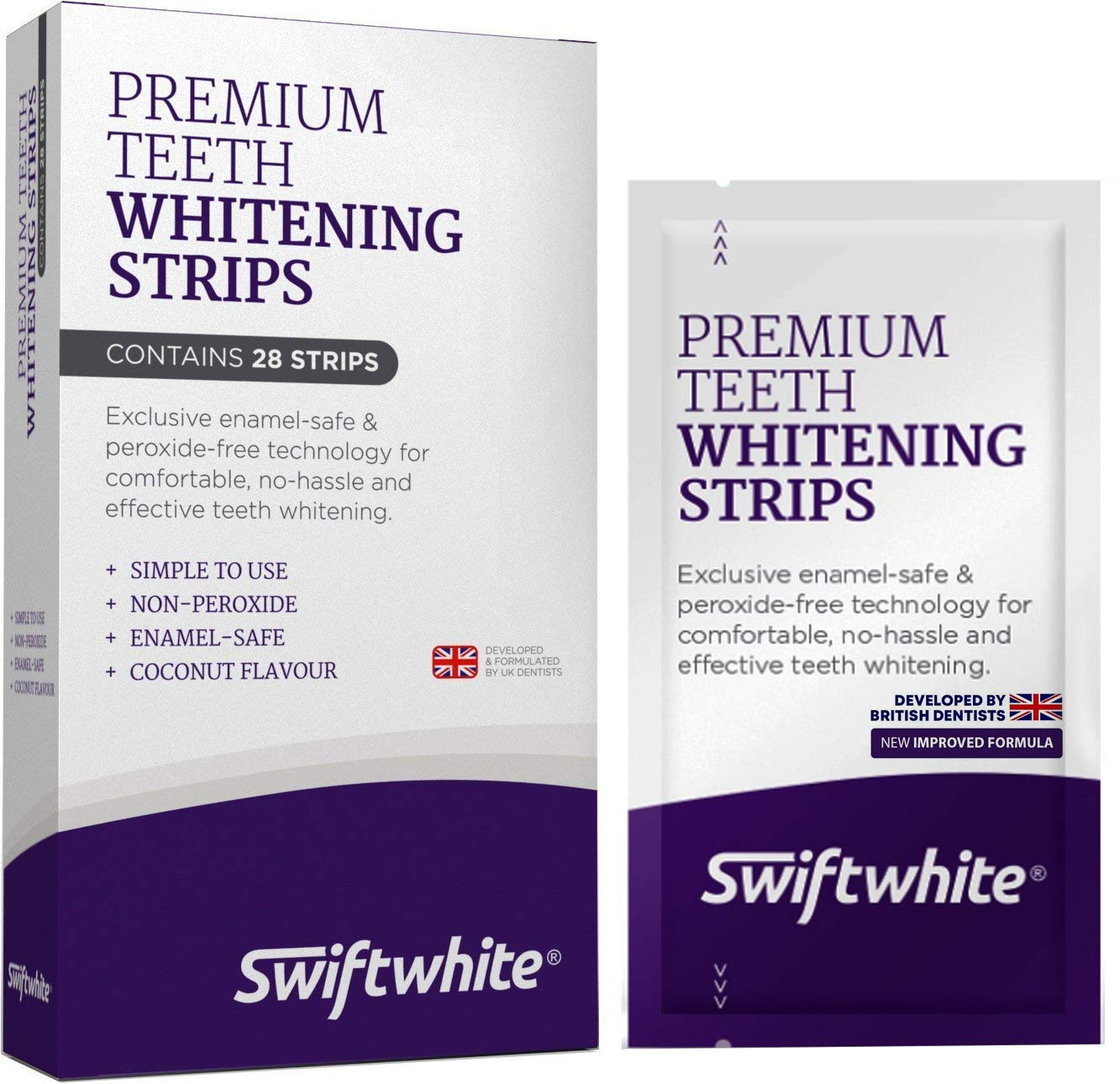 Teeth Whitening Strips, Fast Results & No Sensitivity, Superior Than Crest 3D Whitestrips and HiSmile Teeth Whitening Kits, 100% Money Back (1-Pack) product image