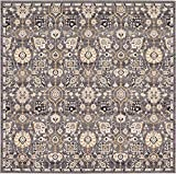 Unique Loom Tradition Collection Classic Floral Gray Square Rug (8′ x 8′) Review
