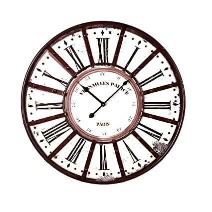RuiyiF Vintage Wall Clocks Large Decorative, Oversized Wall Clock Rustic Metal Battery Operated Retro Silent