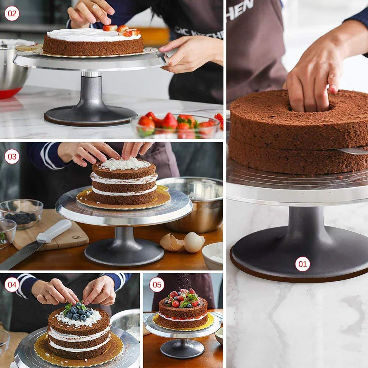 Yizish - Tocadiscos giratorio para tartas con espátula de glaseado ...