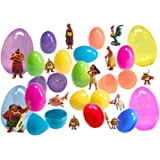 12 Plastic Easter Eggs With Disney Moana Figurines - Ready To Fill, Hide and Hunt - Recreate Your Favorite Movie Moments - Durable Toys For Hours of Fun - 3-Inch and 6-Inch Eggs In A Variety Of Colors