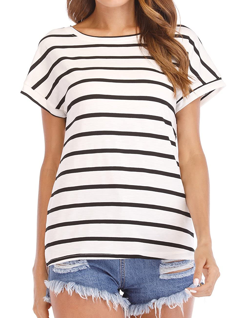 f173204295825 Haola Women s Striped Tops Summer Casual Round Neck Short Sleeve Blouse T- Shirt (S-3XL) at Amazon Women s Clothing store