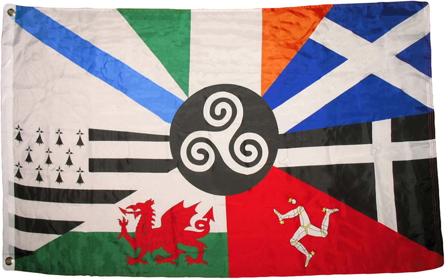 RFCO 3x5 European Celtic Nations Flag 3 by 5 Foot Ireland Scotland Wales Brittany