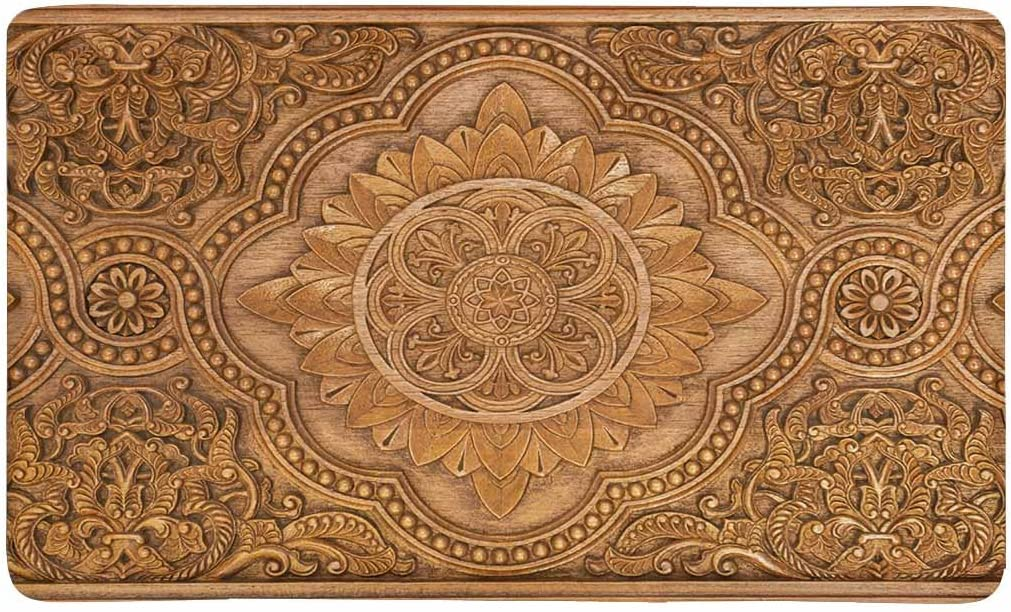 INTERESTPRINT Retro Mandala Style Floral Circle Wood Carving Art Doormat Indoor Outdoor Entrance Rug Floor Mats Shoe Scraper Door Mat Non-Slip Home Decor, Rubber Backing Large 30 L x 18 W