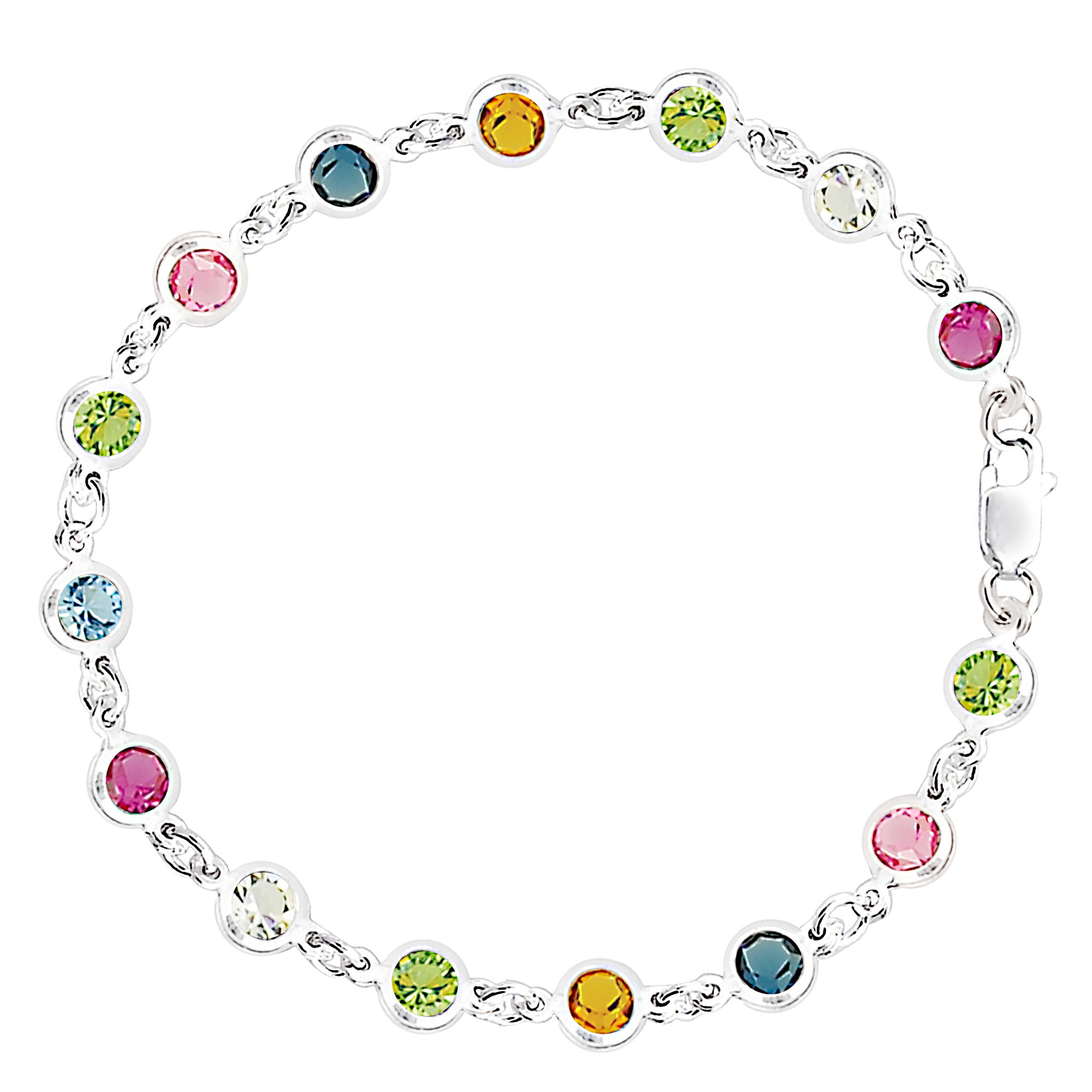Multi Colored Round Shaped CZ Anklet In Sterling Silver, 10''