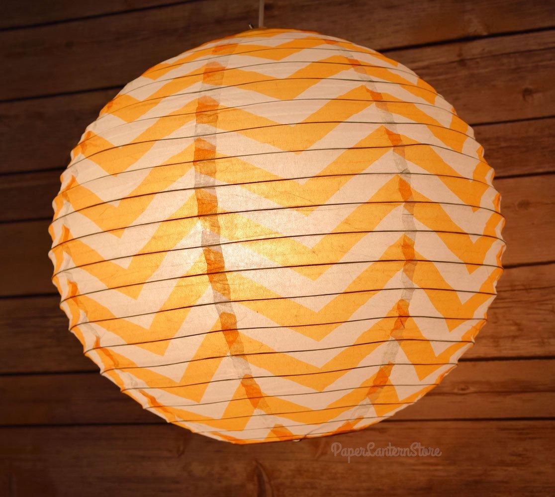Quasimoon PaperLanternStore.com Orange Chevron Paper Lantern, Hanging Decoration