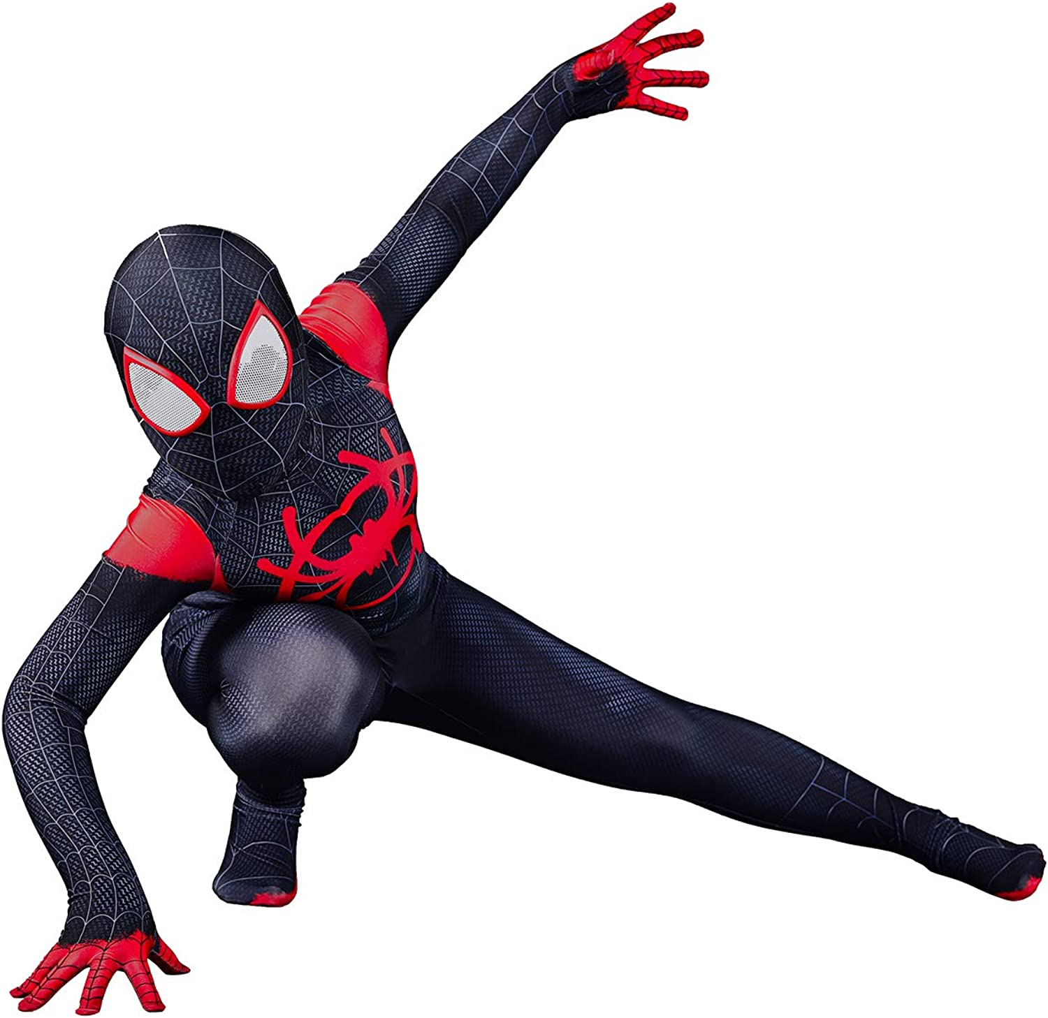 Unisex Halloween Costume Miles Morales Cosplay Bodysuit Pretend Play Suit with Detached Mask Adult Kids