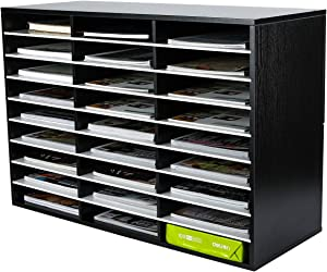 PAG Wood Literature Organizer Office Home File Sorter Mail Center Paper Storage Holder Classroom Keepers Mailbox, 27 Slots Compartment, Black&White