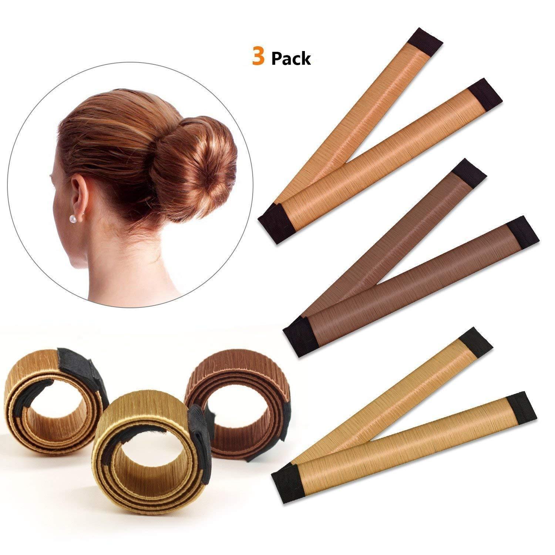 IBEET Bun Hair Maker, Magic Hair Styling Donut Bun Maker, Hair Bun Shapers for Women Girls DIY Hairstyle Tools, 3 Pack(Brown/Red-brown/Yellow Brown) GUIIBEETING