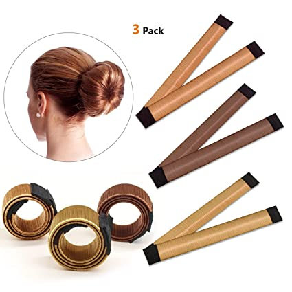 Snner Bun Haarschmuck Magic Hair Styling Donut Bun Maker Hair Bun Shapers Fur Frauen Madchen Diy Frisur Tools 3 Pack Braun Rotbraun Gelb Braun