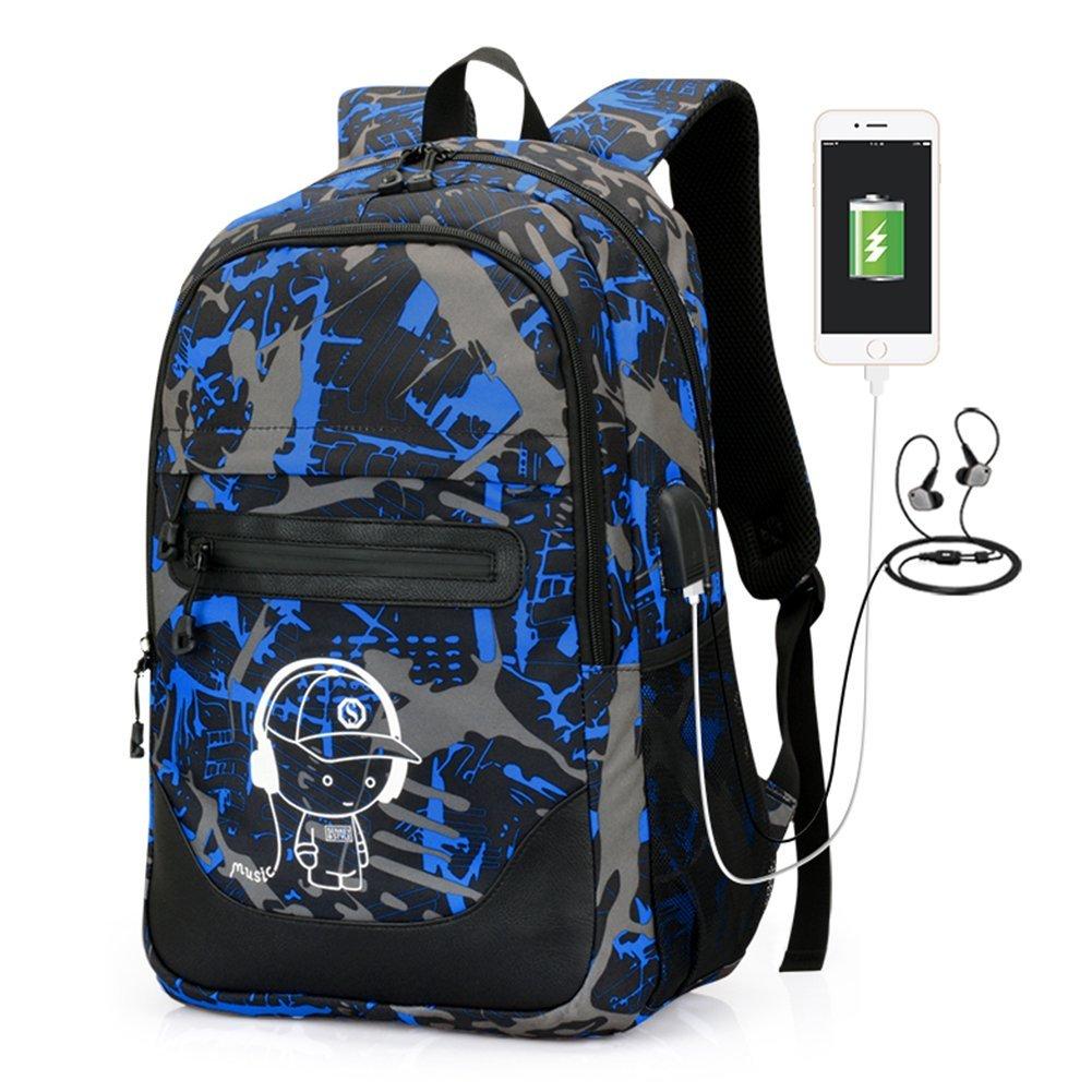 2-FNS Luminous Laptop Backpack, High School Boys School Backpack Bags with USB Charging & Headphone Port Bookbags