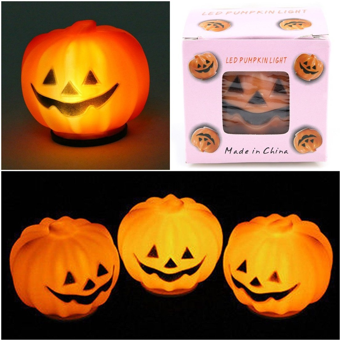 1Pc Unrivaled Popular Halloween LED Nightlight Carnival Props Decor Pattern Round Pumpkin Color Orange by GVGs Shop (Image #1)