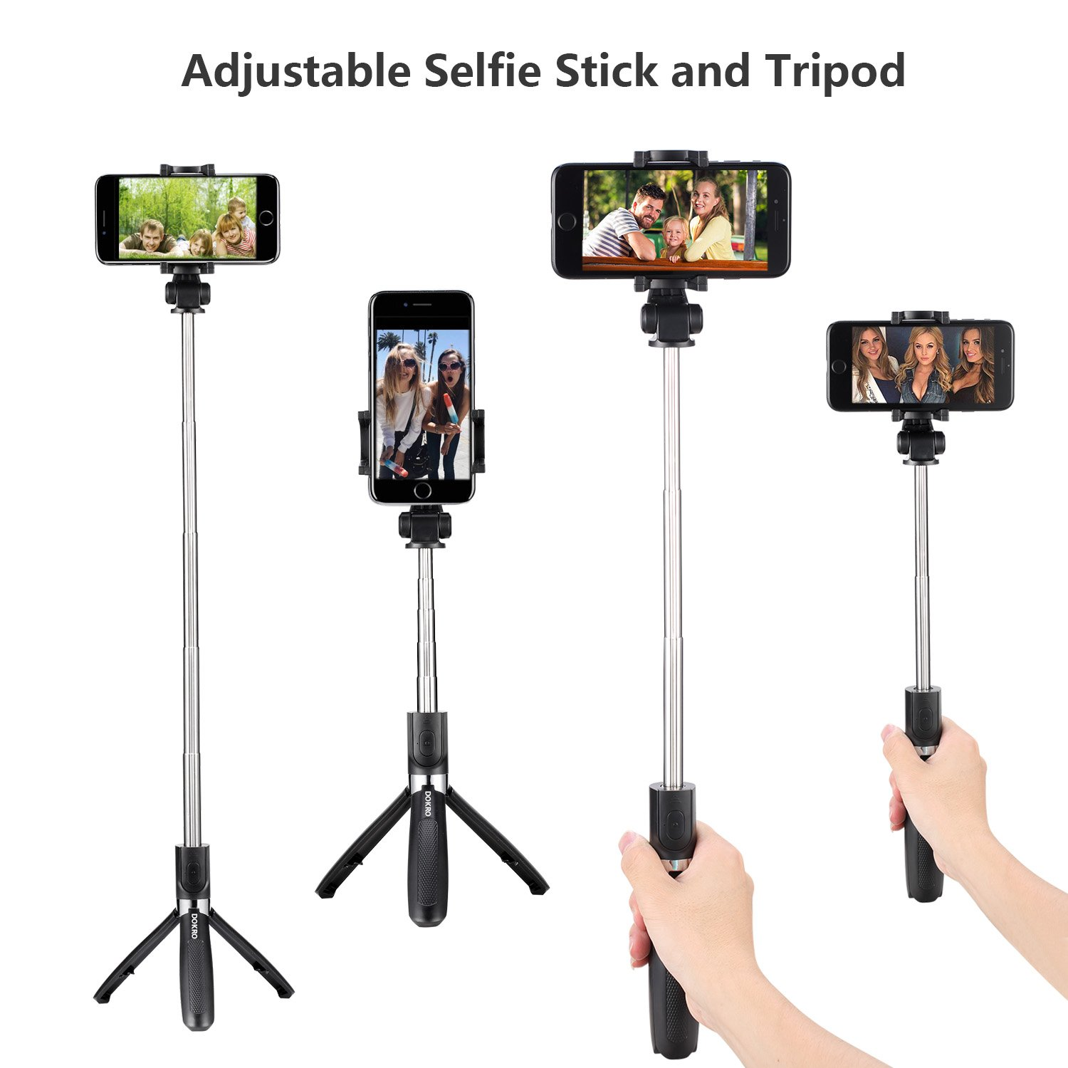 DOKRO Selfie Stick Tripod Stand Holder Extendable with Bluetooth Remote for iPhone x 8 6 7 plus Android Samsung Galaxy S7 S8 Blackberry Huawei by DOKRO (Image #4)