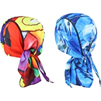 LIOOBO 2pcs Cycling Head Wrap Sweat Wicking Helmet Liner Quick-Dry Pirate Hat Bandana for Sport Running Riding