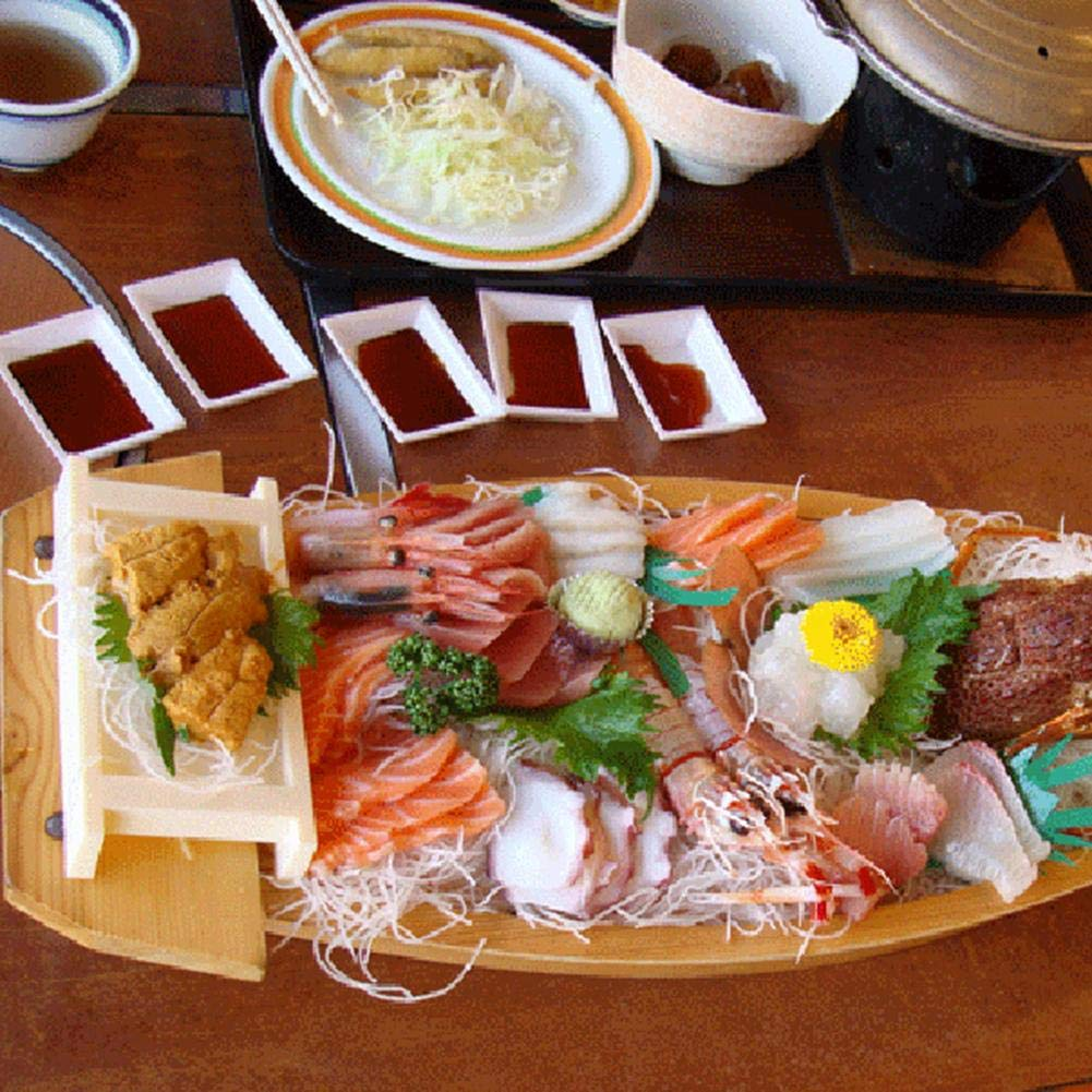 Globalqi Bandeja de Sushi De Madera Barco Simple Pino Sashimi Plato Utensilios de Cocina Decoracion Japonesa