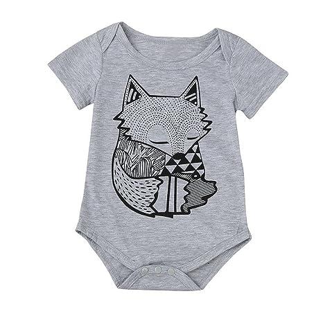 feiXIANG Ropa Infantil recién Nacido bebé niño bebé niño niña Fox Imprimir Mono del Mono Unisex