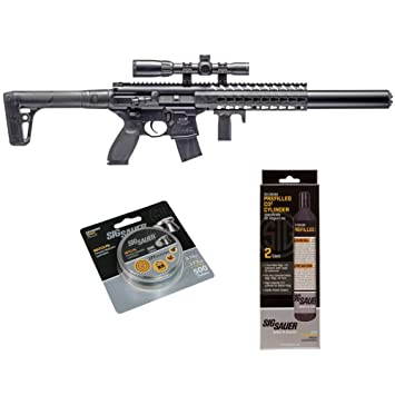 SIG Sauer MCX  177 Cal CO2 Powered Advanced Air Rifle with CO2 90 Gram (2  Pack) and 500 Lead Pellets Bundle