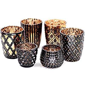 Votive Candle Holders Set of 6 Vintage Style Speckled Glass Tea light Candle Holders, Wedding/Party/Home Decor (Gold and Coffee)