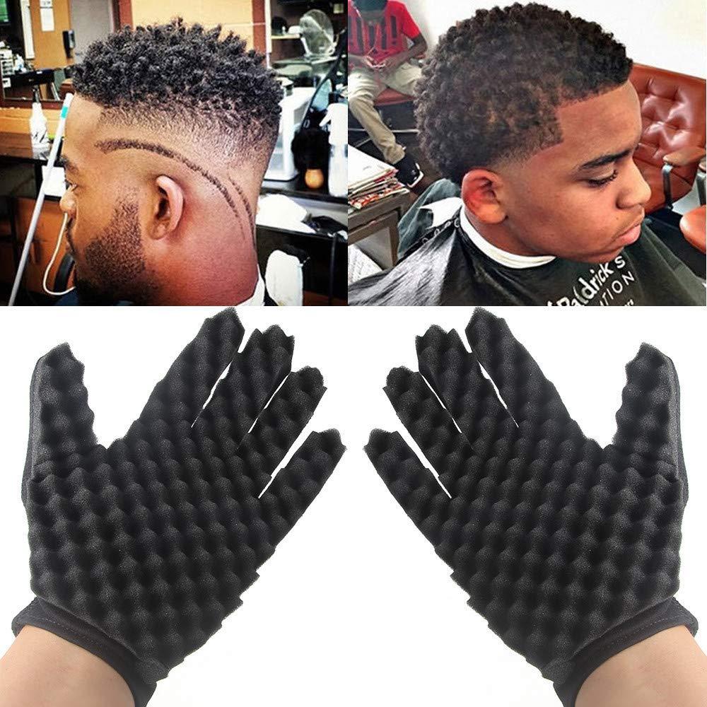 Gotian Sponge Gloves Fashion Curls Coil Magic Tool Wave Barber Hair Brush Sponge Gloves Black (Black)