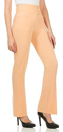 2a9b70b0d Velucci Dress Pants for Women - Womens Slight Bootcut Office Wear Ladies  Pant Peach-S