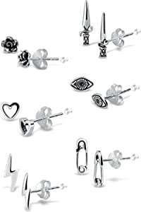 Adeley 6 Pairs Sterling Silver Mix And Match Egirl Earrings, Alt Earrings, Safety Pin Earrings, Lightning Bolt Earrings, Dagger Earrings, Flower Earrings, Evil Eye Earrings and Heart Earrings