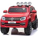 Volkswagen Amarok La voiture électrique pour enfants, Rouge – 2,4 GHz, 2x12V, 4 moteurs, siège en cuir, les roues douces EVA, VW Autorisé