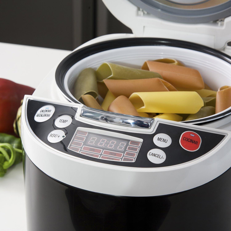 Robot de cocina con 850W, capacidad de 5 l y14 funciones. Programable 24h, guiado por voz y con recetario y múltiples accesorios. Gourmet 5000 de Ollas GM.: Amazon.es: Hogar