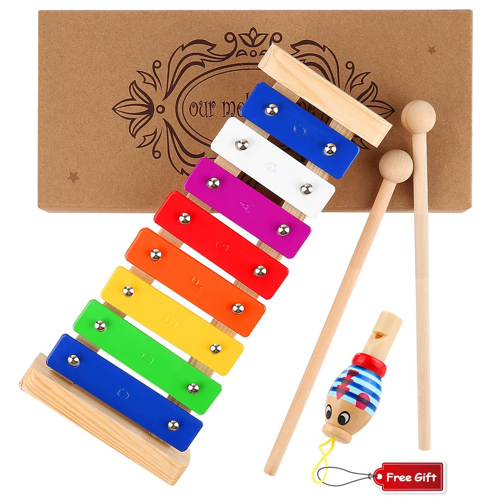WEfun Xylophone for Kids,Wooden Musical Toy with Clear Tuned Metal Keys,2 Child-Safe Plastic Mallets and a Whistle for Music-Making Fun