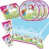 37 parts Ensemble de fête Licorne (Amscan) - Licorne - Serviettes De Table Plaque Tasses Nappe de table pour 8 Enfants