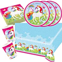 37 parts Ensemble de fête Licorne (Amscan) - Licorne - Serviettes De Table Plaque Tasses Nappe de table pour 8 Enfants