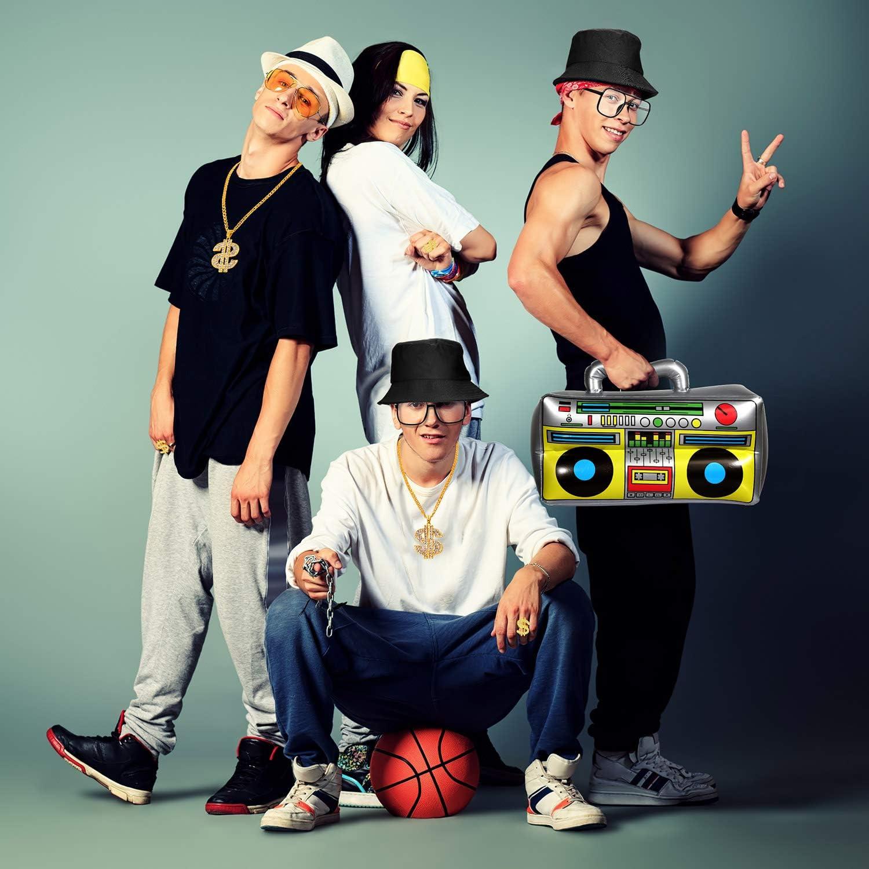 Kit de Disfraces de Hip Hop Gafas de Sol con Sombrero de Cubo ...