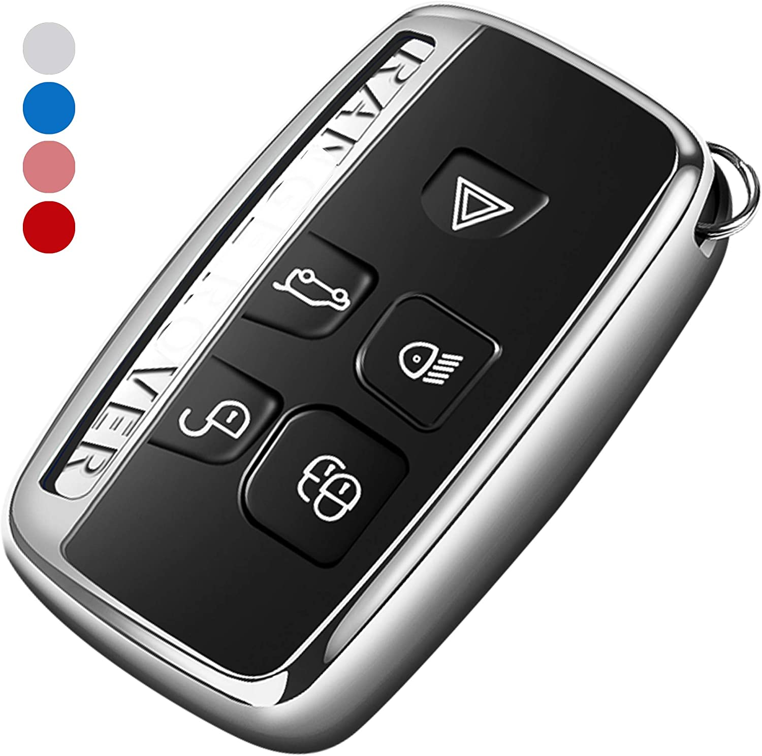 Uxinuo Compatible with Range Rover Key Fob Cover Case Premium Soft TPU Key Fob Case for Defender Discovery Sport LR4 Range Rover Sport and Jaguar XF XJ XJL XE F-PACE Jaguar 5-Buttons Red