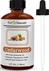 Cedarwood Essential Oil 4 Oz by Fab Naturals, 100% Pure Therapeutic Grade, Best Oil for Hair, Diffuser, Soap Making, Dogs