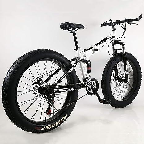 Plegable Doble Amortiguación Velocidad Variable Freno De Disco Bicicleta De Montaña 2624Neumático De Grasa De Rueda Ancha 4.0 Bicicleta para Hombres Y Mujeres,Bicicleta De Nieve: Amazon.es: Deportes y aire libre