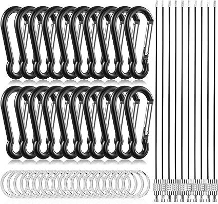 20Pcs Mini Metal Snap Spring Clip Hook Carabiner Ring Outdoor Survival Tool