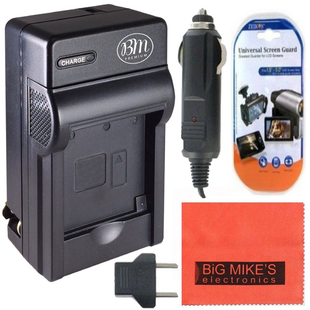 NP-FH50 Battery Charger for Sony CyberShot DSC-HX1 DSC-HX100V DSC-HX200V HDR-TG5V Digital Camera + Cleaning Cloth + LCD Screen Protector Big Mike' s PT13