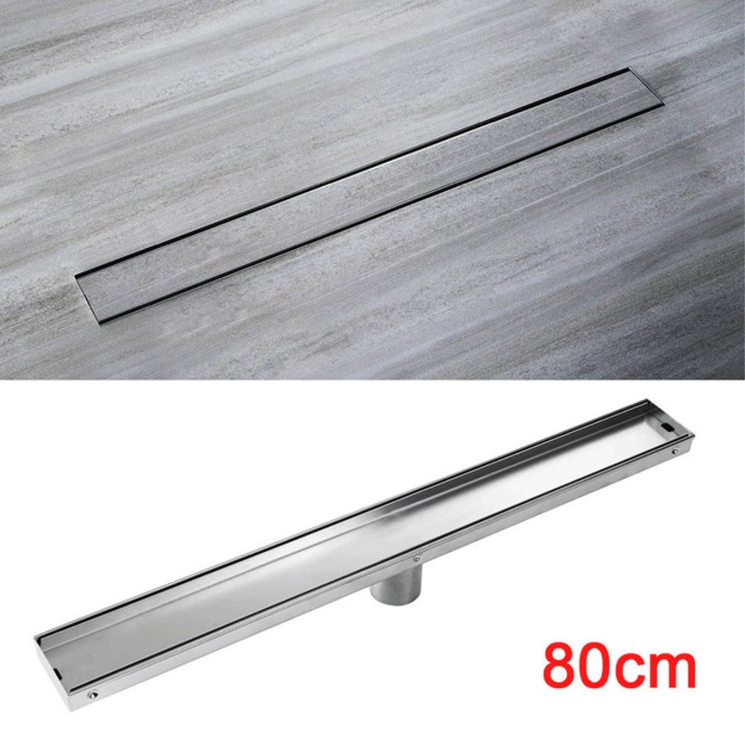 Popowbe Stainless Steel Bathroom Kitchen Odor-Resistant Floor Drain Cover Grate Linear Shower Drain 60cm