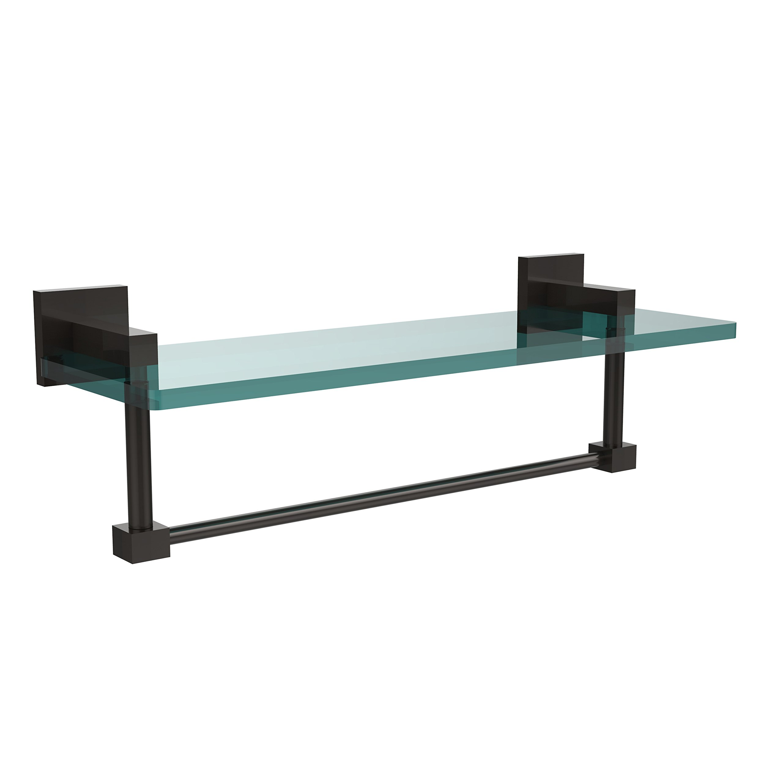 Allied Brass MT-1-16TB-ORB Montero Collection 16 Inch Glass Vanity Shelf with Integrated Towel Bar Oil Rubbed Bronze