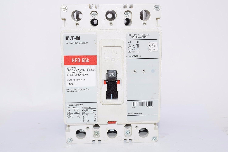 Eaton Cutler Hammer HFD3070 6639C86G93 3 Pole 70 AMP 600V Circuit Breaker Magnetic Breakers Amazon Industrial Scientific